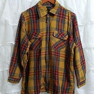NY& CO Zip Up Plaid Flannel Shirt Coat Jacket LG